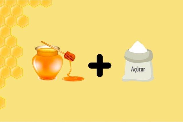 Esfoliante caseiro preparado com mel e açúcar