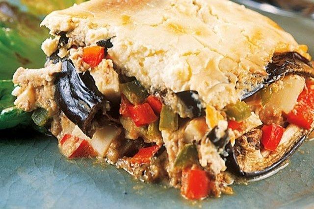 Torta de pollo con berenjena