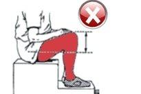 Não dobrar a perna operada mais do que 90º