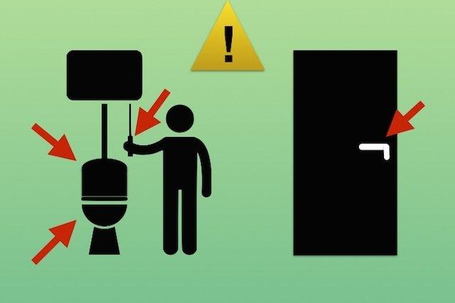 Áreas mais contaminadas do banheiro