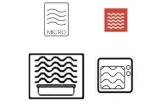 Símbolos utilizados em recipientes próprios para microondas