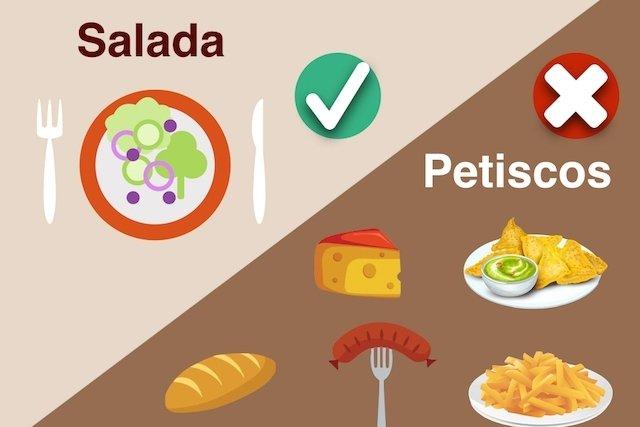 Comer salada de entrada ao invés de petiscos