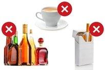 Evitar beber álcool, cafeína e fumar