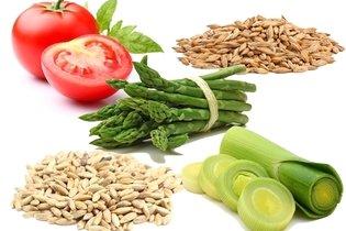 Tomate, cevada, aspargo, centeio e alho francês