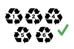 Símbolos de embalagens que não contêm Bisfenol A