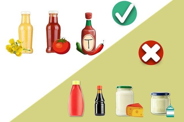 Preferir molhos de tomate, mostarda, pimenta ou vinagrete