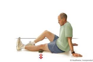 Pressionar a perna esticada para baixo