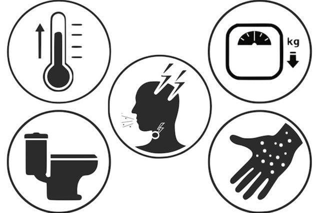 Principais sintomas da AIDS que surgem entre 8 a 10 anos após a contaminação