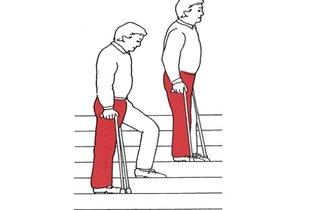 Subir escadas com muletas