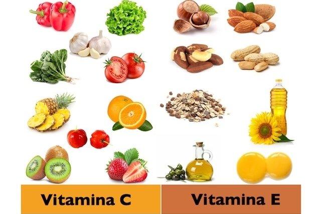 Comer alimentos ricos em vitamina C e E