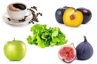Alimentos permitidos: frutas, legumes e café