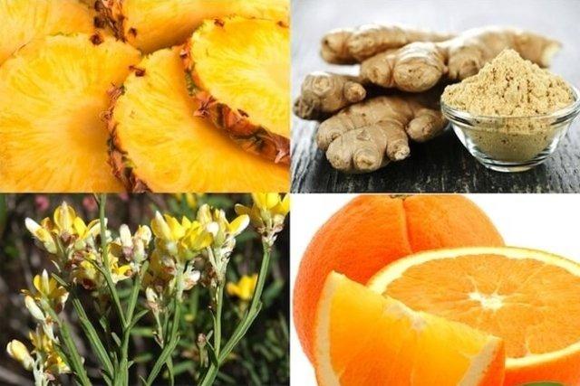Ingredientes necessários para fazer o chá de gengibre com abacaxi
