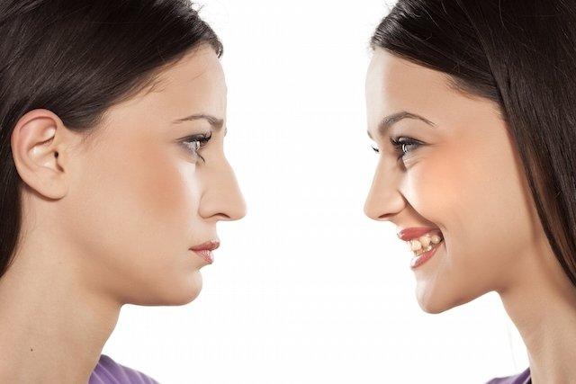 Antes e depois do nariz