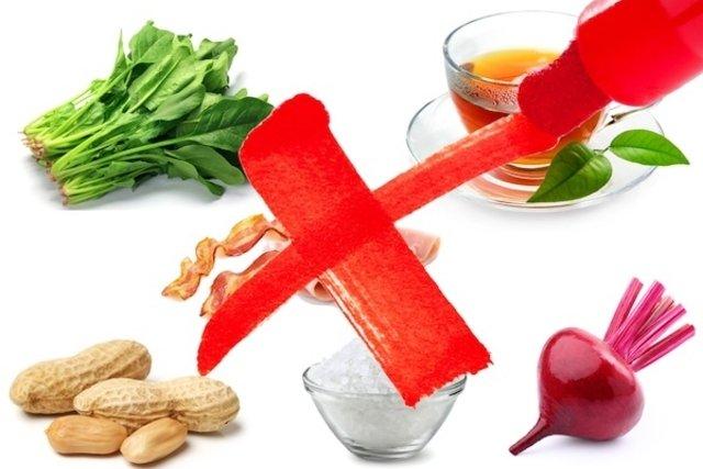Alimentos desaconselhados para cálculo renal