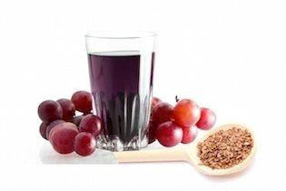 Suco laxante de uva e linhaça